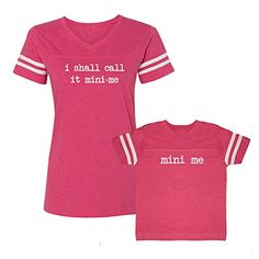 We Match I Shall Call It Mini Me  Mini Me Matching Womens Football VNeck TShirt  Child TShirt Set 3T TShirt Womens Football TShirt Medium Hot Pink >>> Click on the image for additional details.(It is Amazon affiliate link) #funny