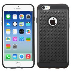 21711ad756b MYBAT Ultra-thin Drilled Holes Hybrid iPhone 6/6S Case - Black/Black