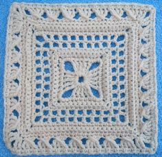 "Ladies Lace 12"" square. Pattern by Melinda Miller, crocheted by MaryFairy. Crochet Square Blanket, Crochet Squares, Crochet Motif, Crochet Granny, Granny Squares, Crochet Patterns, Knit Crochet, Doilies, Square Patterns"