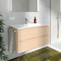 EandS | Kitchen, Bathroom & Laundry - Berloni Bagno Memphis Block 910mm Basin & Vanity in Natural Veneer MEMBLK91KITNAT