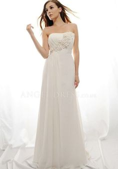A line Strapless Chiffon Natural Waist Floor Length With Flowers Wedding Dress