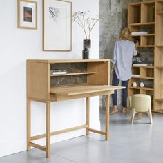 The Eyota Oak and Marble Desk is like a modern ecritoire, tres chic! It also folds up into a tall sideboard, great if your desk is in your living area. Bleu Nature, Tall Sideboard, Teak, Design Bleu, Marble Desk, Oak Desk, Rustic Desk, Desk Shelves, Shelving Units