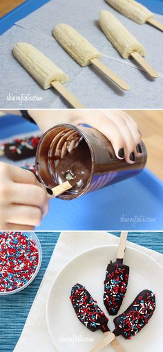 Frozen Banana Pops - except I would use raw cacao mixed with almond milk or coconut milk and coconut sap as its low glycemic for my chocolate dipping sauce Summer Treats, Holiday Treats, Holiday Recipes, Delicious Desserts, Dessert Recipes, Yummy Food, Banana Com Chocolate, Stevia Chocolate, Chocolate Pops