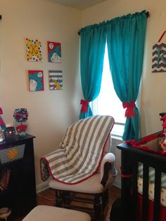 Love these curtains down to the red bows and their simple enough for me to make! I'll pick a blue that matches the exact color of the blue strips I'll be painting on the ceiling.