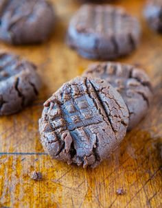 "Chocolate Peanut Butter Cookies (GF) - No butter, No white sugar, and No flour used averiecooks.com  ""healthy"" sweets :)"
