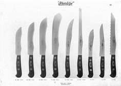 This Robeson ShurEdge catalog is a reproduction of the rarely seem Robeson Cutlery Company's salesman catalog dating Butcher Knife, Vintage Cutlery, Knife Sheath, Magnetic Knife Strip, Knife Block, Kitchen Knives, Swords, Stilettos, Lamb