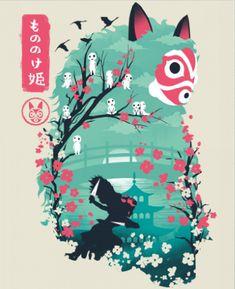Ukiyo e Princess Anime & Manga Poster Print Studio Ghibli Art, Studio Ghibli Movies, Studio Ghibli Poster, Totoro, Anime Studio, Personajes Studio Ghibli, Japanese Poster Design, Graphisches Design, Exhibition Poster