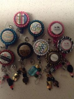 Work ID Badges, Badge Holders, Homemade Reeled Badges, Custom Made Badge Holders, Hello Kitty, Day of the Dead, Beads, Charms, on Etsy, $5.00
