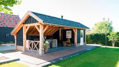 Tuinpaviljoen met berging, Andel - Bronkhorst Buitenleven Bar Shed, Garden Buildings, Pergola Designs, Sitting Area, Gazebo, Beach House, Outdoor Living, Sweet Home, Backyard