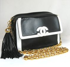 Chanel CoCo Logo Mini Shoulder Bag Gold Chain Black & White Lambskin w/ Tassel