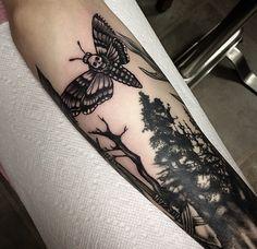 Death moth tattoo by Kristen Goetz