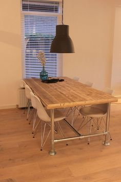 Table et tubes Tables, Dining Table, Wood, Furniture, Home Decor, Scaffolding Wood, Dinner Room, Life, Kitchens
