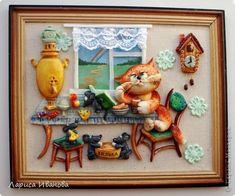 Картина панно рисунок Лепка Роспись Кот за чаем Акварель Гуашь Тесто соленое фото 1