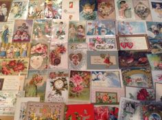 Nice-Vintage-Antique-Lot-of-1900s-Holiday-Greetings-Postcards-100-Cards-sss-48