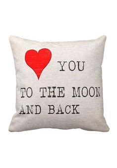 Cotton and Burlap Pillow Cover Wedding Gift Anniversary Gift To the Moon and Back Pillow Cover