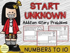 Common Core Standards require students to know how to solve many different types of word problems. This 15 page set is aligned with Common Core State Standards to teach Add To - Start Unknown Numbers to 10 . In my experience, students learn how to better solve each story problem type when first taught in isolation.