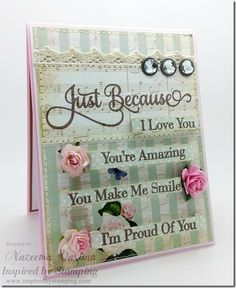 Inspired by Stamping, Just Because stamp set, thinking of you card, vintage card
