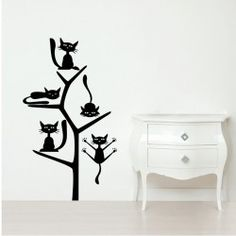Cats on the Tree Wall Decal  Looking for new decor ideas for your bed room or the kid's room? Here is a fun way to give any room an enjoyable and delightful look. The Cats on the Tree Wall Decal has an essence of excitement and charm that will keep the kids as well as the adults amused.  SMALL   :- 14 X 24 - IN INCHES MEDIUM :- 21 X 36 - IN INCHES LARGE   :- 27 X 48 - IN INCHES