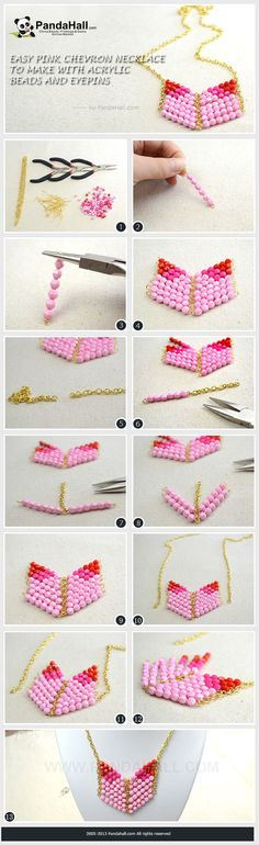 Easy Pink Chevron Necklace to Make with Acrylic Beads and Eyepins  #diy #necklace