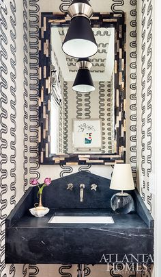 When designing a powder room, Michele Gratch wanted to pack a big punch. A wallcovering by Anna French makes a bold statement, complementing the floating soapstone vanity. Windsor Windows, Barn Door, Interior Design, Style Board, Shower Tile, Wall Spaces, Wall Coverings, Upstairs Bedroom, Bath Countertops