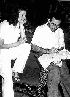 George Cukor directing Katherine Hepburn on the set of The Philadelphia Story.