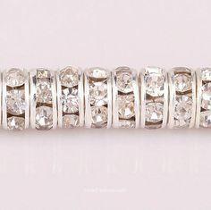 50pcs Silver Plated Rondelle Glass Crystal Rhinestone Beads for Earring Bracelet | eBay