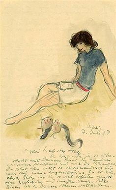 Junge Frau mit Fischen und Aal (+ Rollschuhfahrerinnen, dbl-sided; 2 works) von…