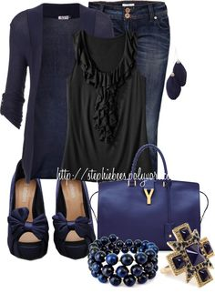"""Black & Blue"" by stephiebees on Polyvore"