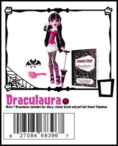 Draculaura Wave 1 includes stand, brush, diary and pet Count Fabulous