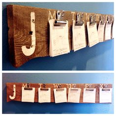 I couldn't find a chore chart that didn't make me want to gouge my eyes out...so I made one. :) All it takes is a piece of pallet wood, bulldog clips and a set of stencils. There are clips for daily chores and a clip for extra chores if your child wants to earn a little extra cash. Add their initial and boom: chore chart that won't make your eyes bleed. :) Pretty proud of myself!