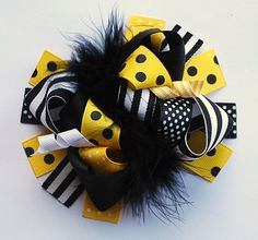boutique FUNKY fun BLACK and YELLOW hair bow clip via Etsy