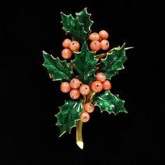 Brooch from Lady Cory's Collection, made in France Between 1859 and 1865. In the Form of a Sprig of Holly, with Leaves of Enameled Gold and Berries of Coral.