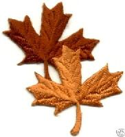 FALL LEAF DOUBLE EMBROIDERED BROWNS IRON ON APPLIQUE