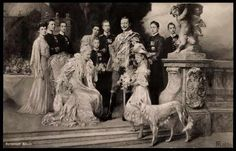 "Portrait of the Kaiser's family. The forum this is posted on says that the borzoi was not actually the Kaiser's and was only there for the portrait in place of his dachshunds who were seen as not ""manly"" enough."