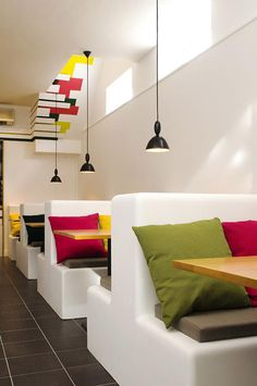 Making Renovation Restaurant Decor Ideas : Bright Color Restaurant Interior Design With Unique Hanging Lamp