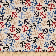 American Coast Anchors Away Tossed Anchors Tea from @fabricdotcom  Designed by DeLeon Design Group for Alexander Henry, this cotton print fabric is perfect for quilting, apparel and home decor accents.  Colors include light beige, red, charcoal, tan and shades of blue.