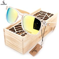 BOBO BIRD Clear Color Wood Bamboo Sunglasses With UV 400 Protection Men's Accessories Awesome Summer Natural Wooden Sunglasses Shops Fashion Styles Website Beach Sunglasses, Wooden Sunglasses, Sunglasses Women, Crazy Sunglasses, Sunglasses Price, Stylish Sunglasses, Wooden Gift Boxes, Wooden Gifts, Wooden Case