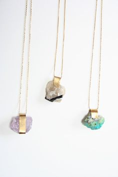 mineral necklaces. amethyst, black/white tourmaline, blue/green amazonite. $95