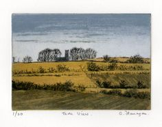 This print depicts the Hill of Tara in Co. Meath from the North East. This Carborundum/Drypoint print is in an edition of 20, and is printed on Fabriano paper using Akua Intaglio inks.