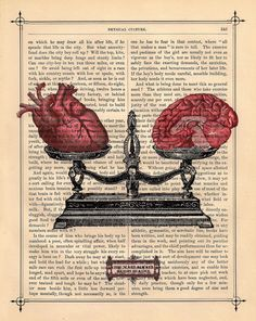 EQUILIBRIUM human HEART BRAIN on dictionary book page art print upcycled anatomical heart brain scale black white art from BlackBaroque on Etsy. Book Page Art, Book Art, Arte Com Grey's Anatomy, Human Anatomy Art, Brain Anatomy, Medical Wallpaper, Brain Art, Brain Drawing, Drawing Faces