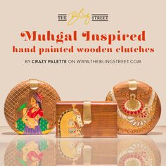the #mughal inspired #wooden clutches has been artfully hand painted to create unique bags. The bags are a must for your #accessory collection. Get the collection by CRAZY PALETTE on http://www.theblingstreet.com/designers/crazy-palette
