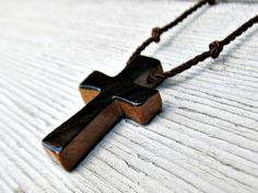Handcrafted Wooden Cross Necklace  Camphor Burl & Ebony by TheLotusShop, $16.95