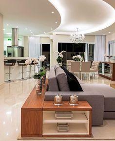 """3,579 curtidas, 19 comentários - Arq•Décor•Casa•Home•Interior (@bloghomeidea) no Instagram: """"Mix do bege e cinza, iluminação planejada, móvel escondendo a parte de trás do sofá e muito mais…"""""""