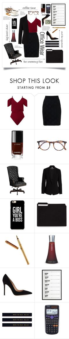 """""""office wear"""" by cubukkrakker ❤ liked on Polyvore featuring Roland Mouret, Balmain, Chanel, Josef Miller, Flash Furniture, Vince Camuto, Caso, Cartier, HUGO and Gianvito Rossi"""
