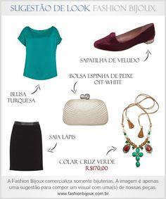 Sugestão de Look: Blusa Turquesa + Saia Lápis + Sapatilha de Veludo + Bolsa Espinha de Peixe Off-White + Colar Cruz Verde (por R$170 na Fashion Bijoux). Para comprar, acesse: www.fashionbijoux.com.br