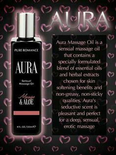Pure Romance by Danielle Baker. Aura Massage Oil, amazing for all your massage needs.