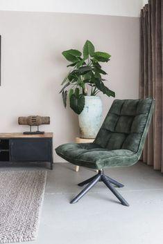 Vintage Draaifauteuil Crawler Velours Groen   Oosterbaan Living Velvet Shop, Barcelona Chair, Living Room Inspiration, Swivel Chair, Zen, Interior Design, House, Furniture, Shopping