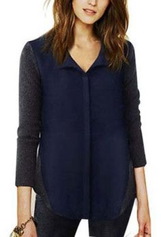 Blue Chiffon And Grey Wool Shirt – Trendy Road
