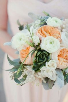 Pretty & Lush Bridal Bouquet Made Of Peach David Austin English Garden Roses, White Ranunculus, White Lisianthus, White Astilbe, & Green Succulent, Broad Leaf Dusty Miller & Green Seeded Eucalyptus