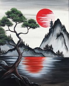 Join us for a Paint Nite event Wed Jul 2018 at 22532 Foothill Blvd. Hayward,… Join us for a Paint Nite event Wed Jul 2018 at 22532 Foothill Blvd. Hayward, CA. Purchase your tickets online to reserve a fun night out! Japon Illustration, Pastel Art, Acrylic Art, Simple Acrylic Paintings, Japanese Art, Japanese Painting, Asian Art, Painting Inspiration, Landscape Paintings